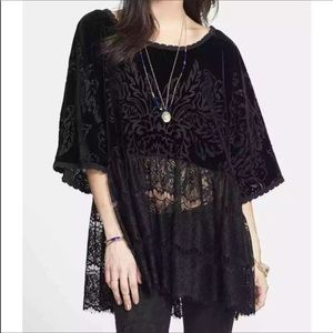 Free People Fortune Teller Black Velvet Lace Top S
